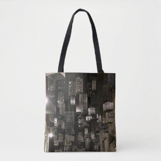 Black and white birdcage silhouette tote bag