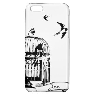 Black and White Birdcage Sparrow iPhone Case Cover For iPhone 5C