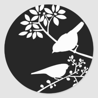 Black and White Birds Classic Round Sticker