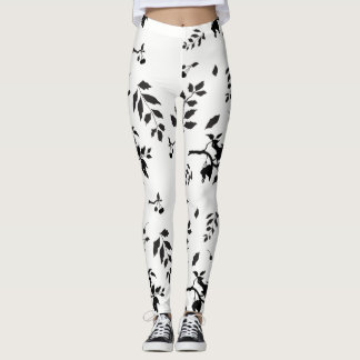 Black and White Birds in a Cherry Tree pattern Leggings
