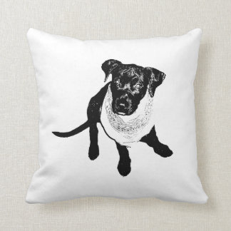 Black and White Black Lab Puppy image Throw Pillow