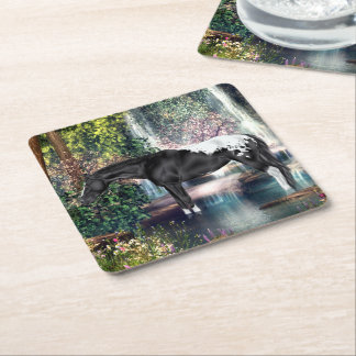 Black and White Blanket Appaloosa and Waterfall Square Paper Coaster