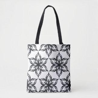 Black and white blossom kaleidoscope tote bag