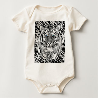 Black And White Blue Eyes Tiger Graphic Rompers