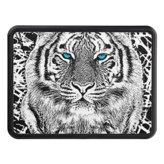 Black And White Blue Eyes Tiger Graphic Trailer Hitch Cover