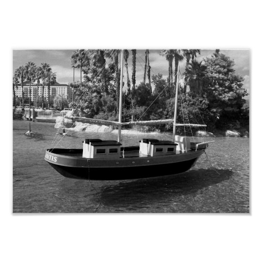 Black And White Boat Photograph Poster