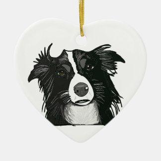 Black and White Border Collie Ceramic Heart Ceramic Heart Ornament