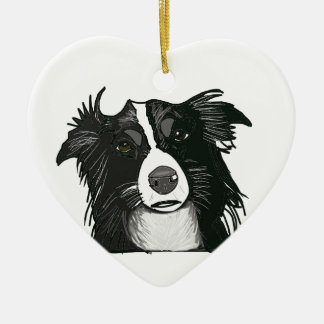 Black and White Border Collie Ceramic Heart Ceramic Ornament