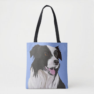 Black and white Border Collie Tote Bag