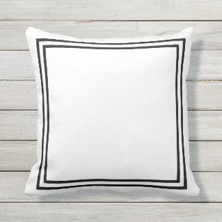 Black and White Border Framed Throw Pillow