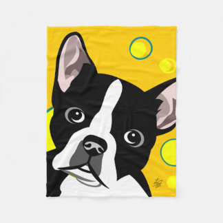 Black and White Boston Terrier Blankets