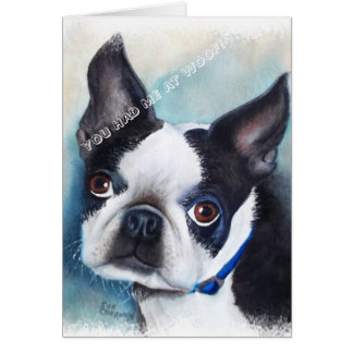 BLACK AND WHITE BOSTON TERRIER CARD
