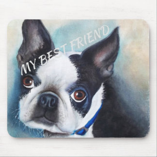 BLACK AND WHITE BOSTON TERRIER MOUSE PAD