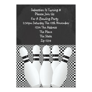 Black And White Bowling Party Blackboard Card