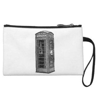 Black and White British Telephone Box Illustration Wristlet Purse