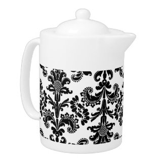 Black and White Brocade Teapot