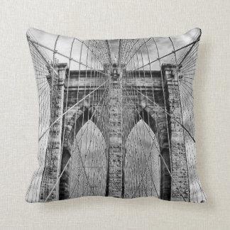 Black and White Brooklyn Bridge Throw Pillow