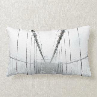 Black and White Brooklyn Brige Lumbar Pillow