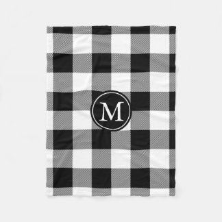 Black and White Buffalo Check Monogram Fleece Blanket