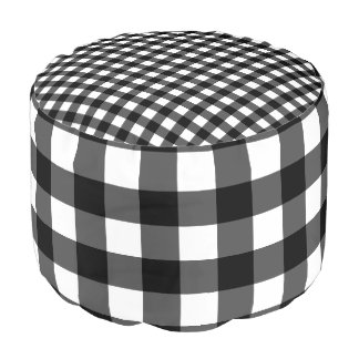 Black and White Buffalo Check Pouf