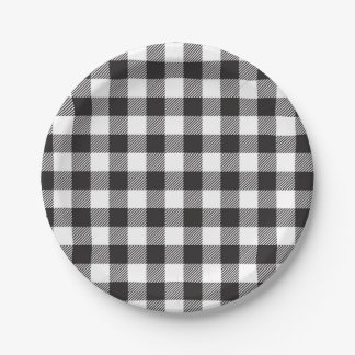 Black and White Buffalo Plaid Paper Plate