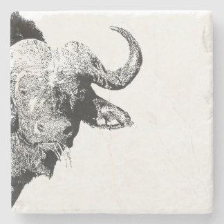 Black and white buffalo stone coaster