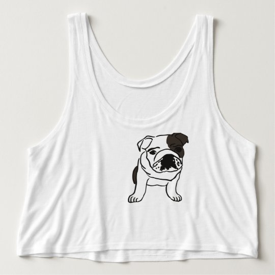Black and White Bulldog Tee. Tank Top