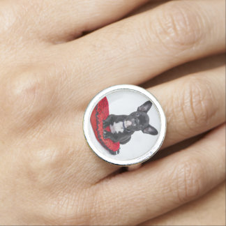 Black and White Bulldog Terrier on Red Pillow Ring