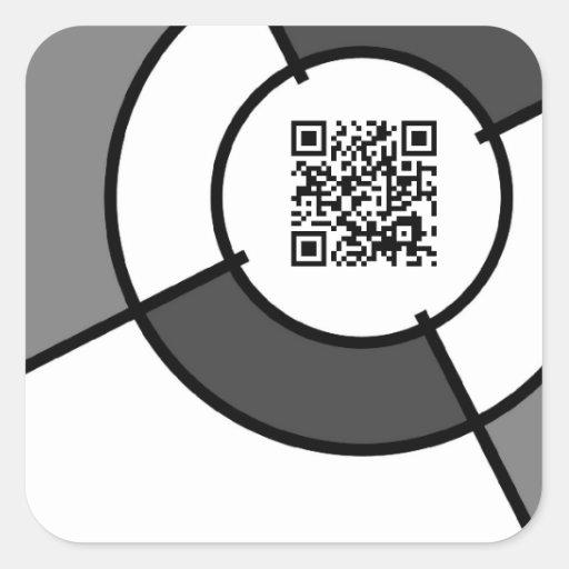 black and white bullseye QR code Stickers