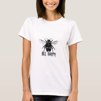 black and white bumble bee on all womens t shirts