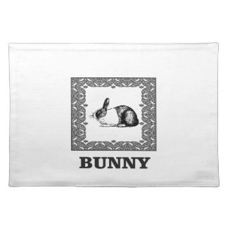 black and white bunny placemat