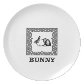 black and white bunny plate