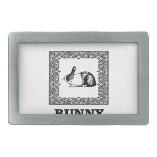 black and white bunny rectangular belt buckle