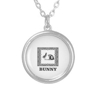 black and white bunny silver plated necklace