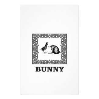 black and white bunny stationery