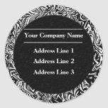 Black and White Business Address Labels Round Sticker