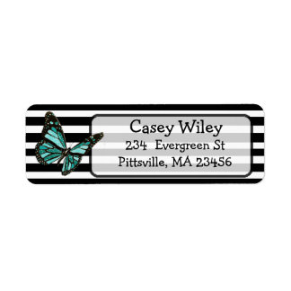 Black and White Butterfly Address Label
