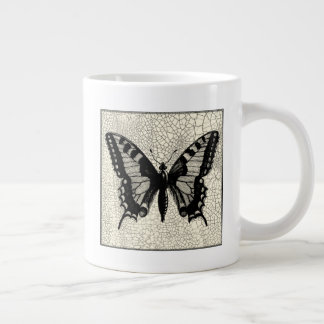 Black and White Butterfly on Cracked Background Giant Coffee Mug
