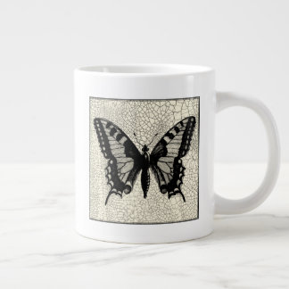 Black and White Butterfly on Cracked Background Large Coffee Mug