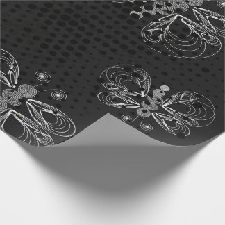 Black and white butterfly pattern with halftones