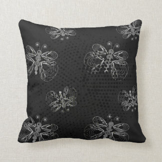Black and white butterfly pattern with halftones throw pillow