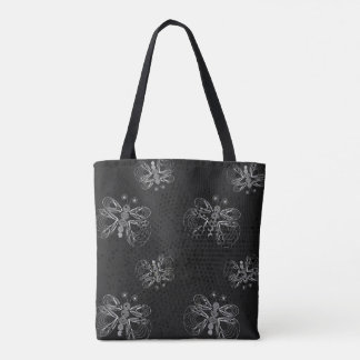 Black and white butterfly pattern with halftones tote bag