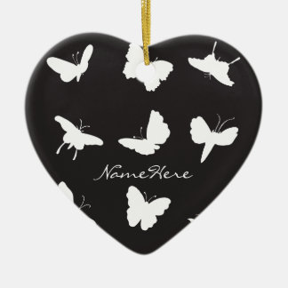 Black and White Butterfly Silhouettes Ceramic Ornament