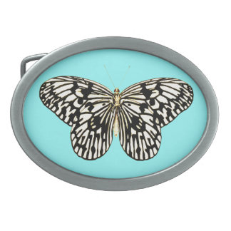 Black and white butterfly, turquoise background belt buckles