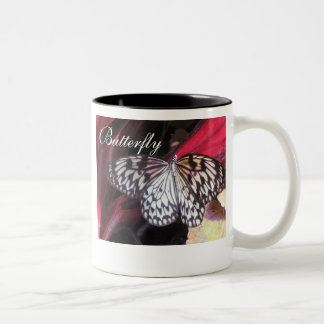 Black and White Butterfly Two-Tone Coffee Mug