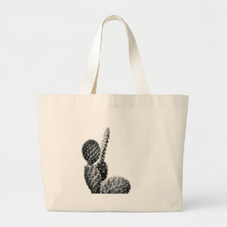 Black and White cactus black and blank Large Tote Bag