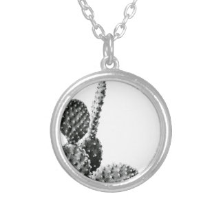 Black and White cactus black and blank Silver Plated Necklace