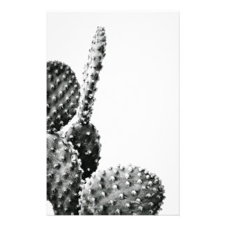 Black and White cactus black and blank Stationery