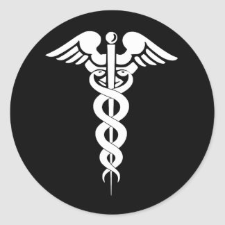 Black and White Caduceus Medical Symbol Sticker