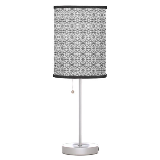 Black and White Caladium Lamp